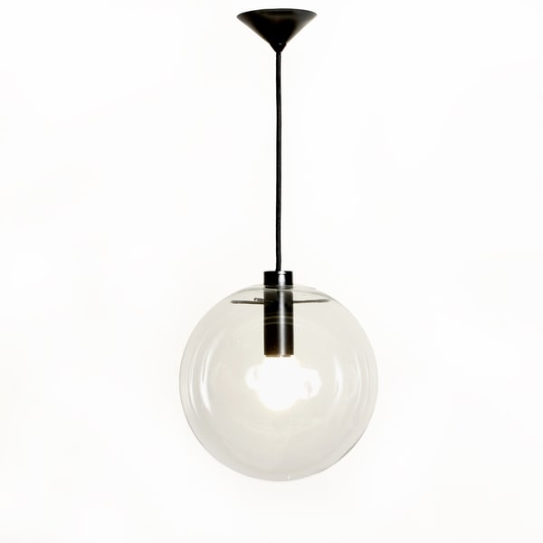 Hans Andersen Home Matte Black Industrial Pendant Lamp with Clear Glass Globe
