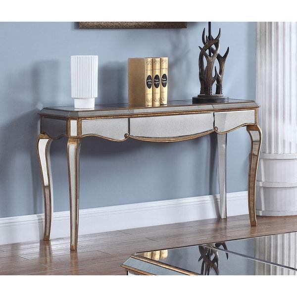 Best Master Furniture FRA2018 Goldtone Mirrored Wood Sofa Table