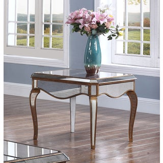 Best Master Furniture FRA2018 Silvertone Wood and Glass Mirrored End Table