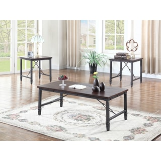 Best Master Furniture DX700 Brown Wood and Iron Coffee Table Set
