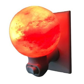 Exquisite Sphere Natural Rock Salt Himalaya Salt Lamp Air Purifier with Wood Base Amber