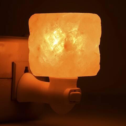 Exquisite Square Mosaic Natural Rock Salt Himalaya Salt Lamp Air Purifier with Wood Base Amber