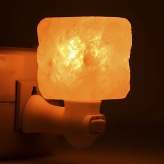 Exquisite Square Mosaic Natural Rock Salt Himalaya Salt Lamp Air Purifier with Wood Base Amber