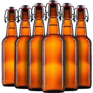 Finedine Swing Top Amber Glass 16-ounce Beer Bottles (Set of 6)