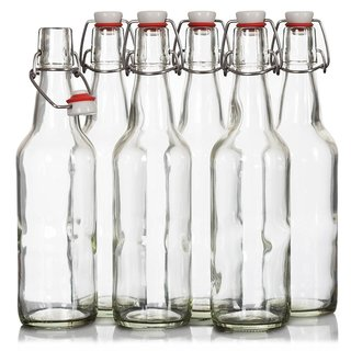 Finedine Swing Top Clear Glass 16-ounce Beer Bottles with Zinc-plated Steel Wire and Sealed Cap (Set of 6)