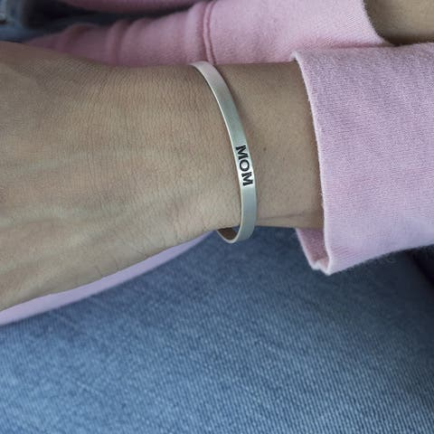 14k Gold Hand Stamped 'Mom' Cuff Bracelet - Mother's Jewelry