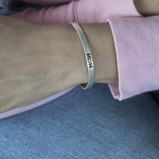 14k Gold Personalized and Hand Stamped 'Mom' Cuff Bracelet
