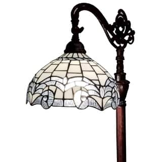Buy floor lamp tiffany style lighting online at overstock our amora lighting am264fl11 62 inch tiffany style white reading floor lamp mozeypictures Images