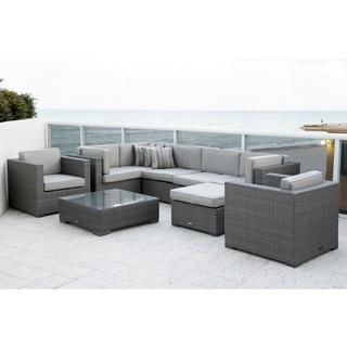 Atlantic Modena Deluxe 9-piece Sectional Set with Spectrum Dove SUNBRELLA color cushions