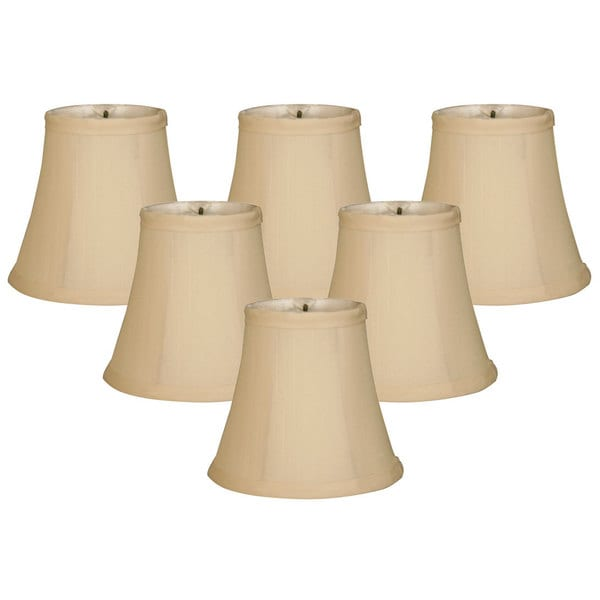 "Royal Designs Chandelier Lamp Shades, 3""x 5""x 4.5"", Soft Bell, Beige, Clip-On, Set of 6 (CSO-1023-5BG-6)"