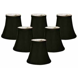 Royal Designs CSO-1024-5BLK/WH-6 Black Soft Bell Clip-on 3-inch x 5-inch x 4.5-inch Chandelier Lamp Shades (Set of 6)