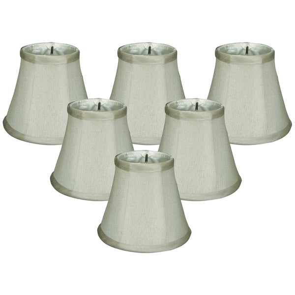 Royal Designs Grey Fabric 3-inch x 5-inch x 4.5-inch Clip-on Soft Bell Chandelier Lampshades (Set of 6)