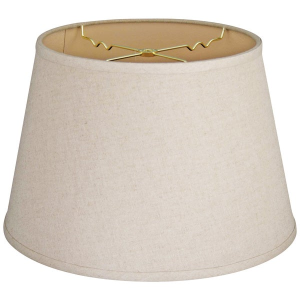 Royal Designs Cream Linen 9.5-inch x 14-inch x 9.5-inch Tapered Shallow Drum Hardback Lampshade