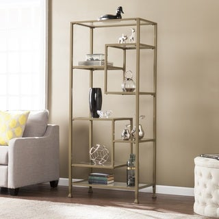 Harper Blvd Jensen Metal and Glass Asymmetrical Etagere/Bookcase - Matte Khaki