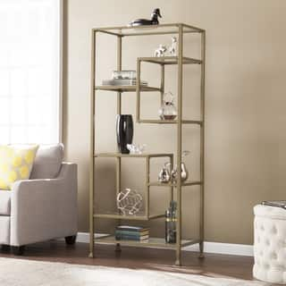 Harper Blvd Jensen Metal/Glass Asymmetrical Etagere/Bookcase - Matte Khaki|https://ak1.ostkcdn.com/images/products/15051799/P21545063.jpg?impolicy=medium