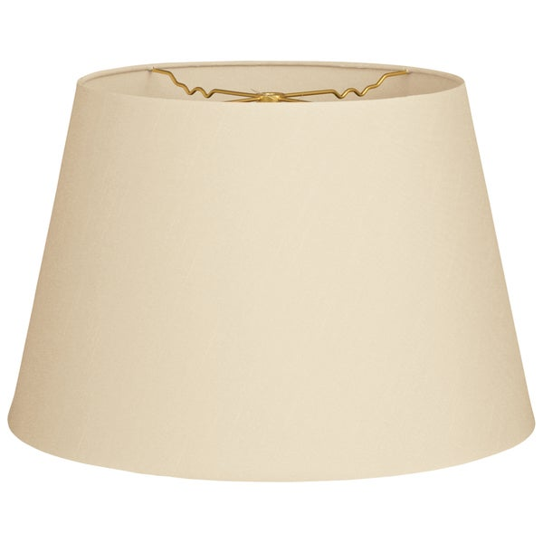 Royal Designs Beige Fabric 9.5x14 Tapered Shallow Drum Hardback Lampshade