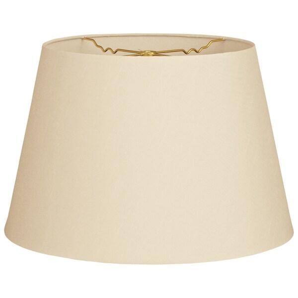 Royal Designs Beige Cream Fabric 9.5-inch x 14-inch x 9.5-inch Tapered Shallow Drum Hardback Lamp Shade