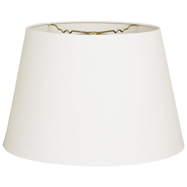 Royal Designs Linen White Fabric 8-inch x 12-inch x 8.5-inch Tapered Shallow Drum Hardback Lampshade