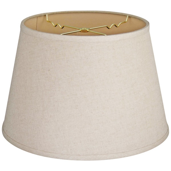 Royal Designs Cream Linen 8-inch x 12-inch x 8.5-inch Hardback Tapered Shallow Drum Lampshade