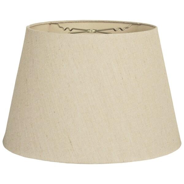 Royal Designs Beige Linen Tapered Shallow Drum Hardback Lampshade