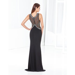 Terani Couture Women's Jersey Sheath with Embellished Halter Style Neckline and Beaded Mesh Back