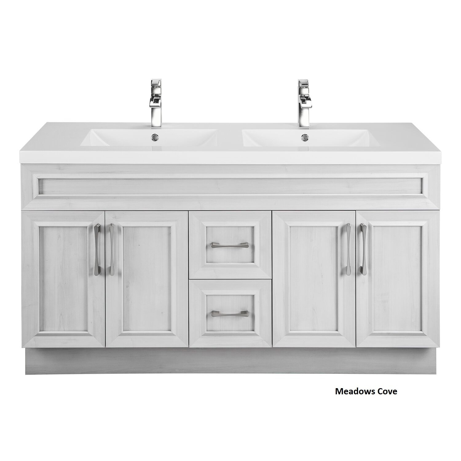 Cutler Kitchen Bath Clic Collection White 60 Inch Transitional Door Vanity With Double Sink