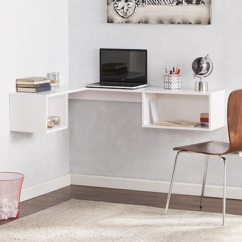Freda Wall Mount Corner Desk - White