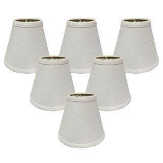 "Royal Designs 6"" Hardback Empire Chandelier Lamp Shades Set of 6 Linen White"