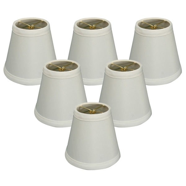 Royal Designs White 5-inch Hardback Empire Chandelier Lampshades (Set of 6)