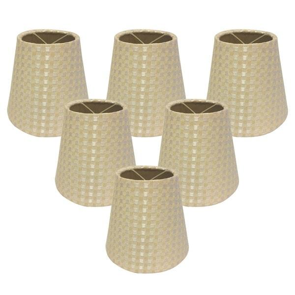 Royal Designs Hardback Empire Beige/ Cream 3 x 6 x 5.5-inch Clip-on Chandelier Lamp Shade (Set of 6)
