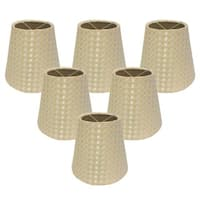 "Royal Designs Hardback Empire Beige/ Cream 3 x 5 x 4.5,"" Clip On- Chandelier Lamp Shade (Set of 6)"