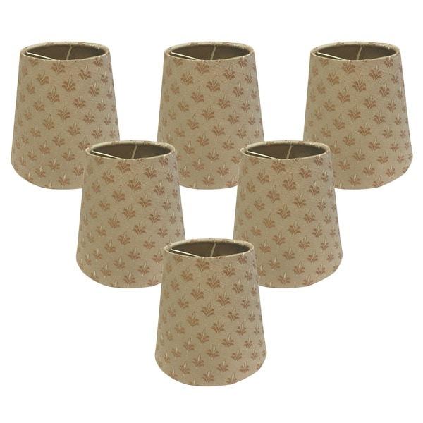 Royal Designs Hardback Empire Fleur-de-lis 3 x 6 x 5.5-inch Clip-on Chandelier Lamp Shade (Set of 6)