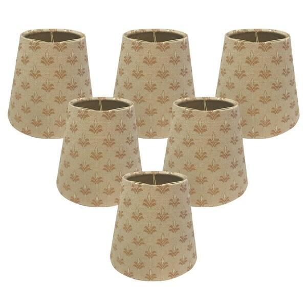 Royal Designs Hardback Empire Fleur-de-lis 3 x 5 x 4.5-inch Clip-on Chandelier Lamp Shade (Set of 6)