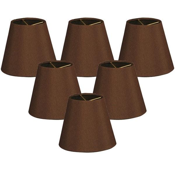 Royal Designs Hardback Empire Dark Brown 3 x 6 x 5.5-inch Clip-on Chandelier Lamp Shade (Set of 6)