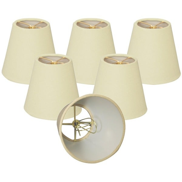 Royal Designs Linen Eggshell 4 x 6 x 4.5-inch Clip-on Chandelier Lamp Shade (Set of 6)