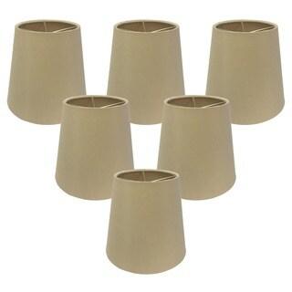 Royal Designs Cream 6-inch Hardback Empire Chandelier Lamp Shades (Set of 6)