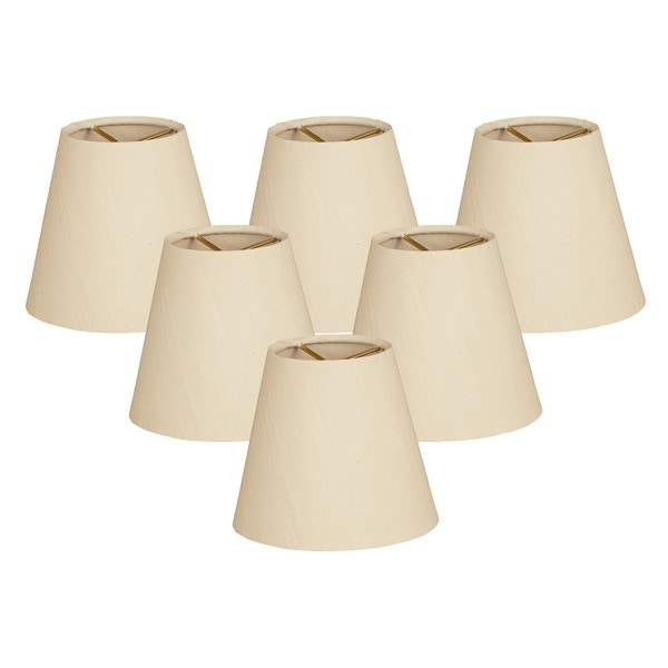 Royal Designs Hardback Empire Beige 3 x 6 x 5.5-inch Clip-on Chandelier Lamp Shade (Set of 6)