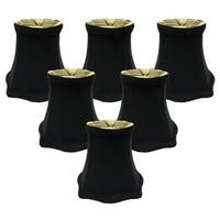 Royal Designs Black with Decorative Trim 5-inch Fancy Square Bell Chandelier Lamp Shades (Set of 6)