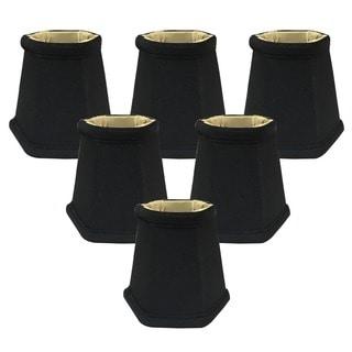 Royal Designs Black 5-inch Hexagon Chandelier Lamp Shades (Set of 6)