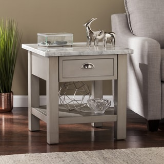 Yardley Faux Marble Square End Table - Gray