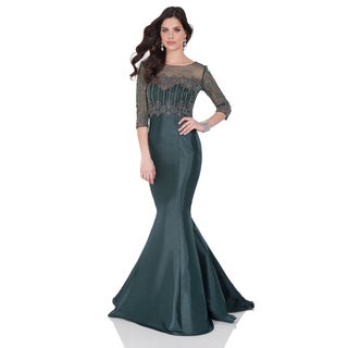 Terani Couture Women's Green Shimmer Twill and Sheer Beaded Coverup Mermaid Gown