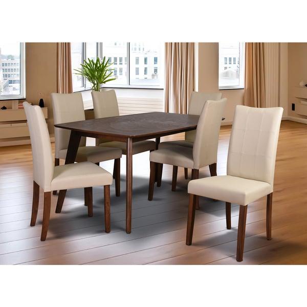Tatiana Mid Century 7 Piece Living Room Dining Set, Cream Leather