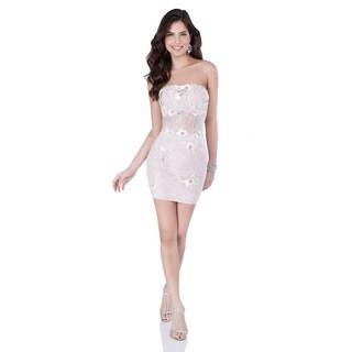 Terani Couture Women's Pink Strapless Corset Detail Short Homecoming Dress