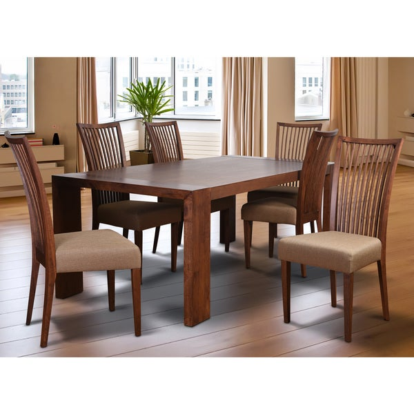 Shop Cynthia Deluxe Mid Century 7 Piece Living Room Dining Set Latte Textile Free Shipping