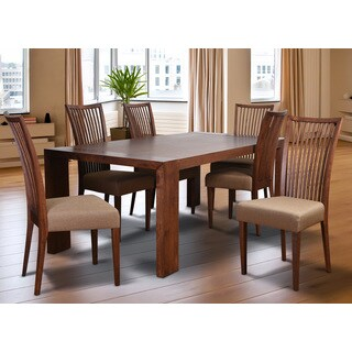 Cynthia Deluxe Mid-Century 7 Piece Living Room Dining Set, Latte Textile