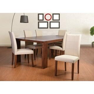 Tatiana Deluxe Mid-Century 7 Piece Living Room Dining Set, Cream Leather