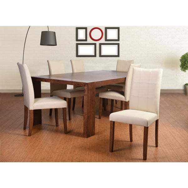 Shop Tatiana Deluxe Mid Century 7 Piece Living Room Dining Set Cream Leather Free Shipping