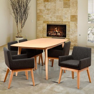 Ruby Mid-Century 7 Piece Natural Living Room Armchair Dining Set, Liqurice Textile Fabric