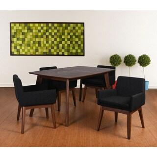Ruby Mid-Century 5 Piece Living Room Armchair Dining Set, Liqurice Textile Fabric