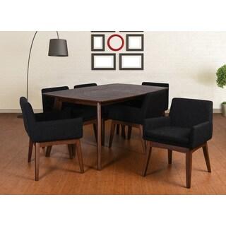 Ruby Mid-Century 7 Piece Living Room Armchair Dining Set, Liqurice Textile Fabric
